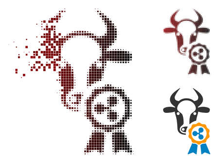 Cow Ripple reward icon in dispersed, pixelated halftone and undamaged entire variants. Pixels are organized into vector dispersed cow Ripple reward form.