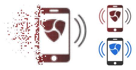 NEM mobile banking icon in dispersed, pixelated halftone and undamaged whole variants. Elements are arranged into vector dispersed NEM mobile banking form. Ilustração