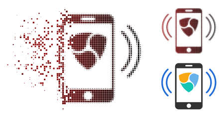 NEM mobile banking icon in dispersed, dotted halftone and undamaged solid versions. Cells are grouped into vector dispersed NEM mobile banking symbol.