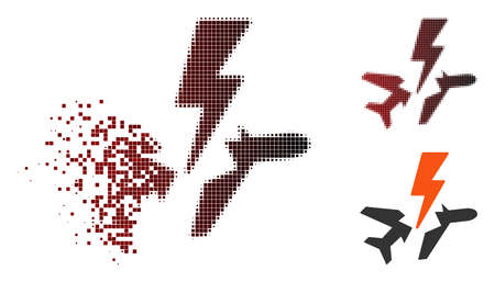 Aircraft disaster icon in sparkle, dotted halftone and undamaged solid versions. Fragments are grouped into vector sparkle aircraft disaster icon.