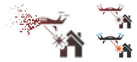 Laser drone attacks house icon in sparkle, pixelated halftone and undamaged solid variants. Particles are arranged into vector dissolving laser drone attacks house form. Illustration