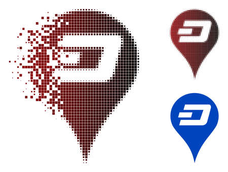 Dashcoin map pointer icon in dispersed, pixelated halftone and undamaged entire variants. Pieces are arranged into vector dispersed Dashcoin map pointer icon.
