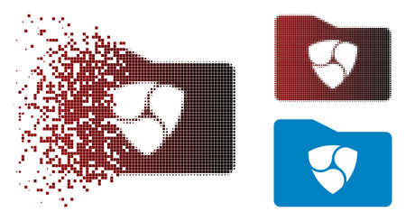 NEM catalog icon in dispersed, pixelated halftone and undamaged solid versions. Fragments are arranged into vector dissipated NEM catalog icon.