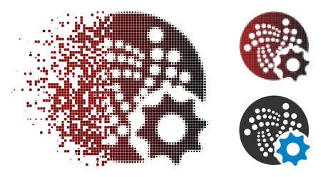 Iota options gear icon in dispersed, pixelated halftone and undamaged solid variants. Pixels are grouped into vector dispersed Iota options gear form. Ilustração