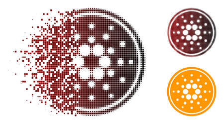 Cardano coin icon in dispersed, pixelated halftone and undamaged entire variants. Particles are grouped into vector dispersed cardano coin symbol. Ilustração