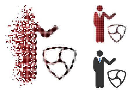 Businessman show NEM icon in sparkle, pixelated halftone and undamaged entire variants. Cells are combined into vector disappearing businessman show NEM figure.