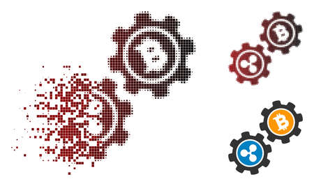 Ripple Bitcoin gears icon in dispersed, pixelated halftone and undamaged whole variants. Cells are grouped into vector dispersed Ripple Bitcoin gears shape.