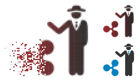 Businessman show Ripple icon in sparkle, pixelated halftone and undamaged entire versions. Particles are combined into vector disappearing businessman show Ripple figure.