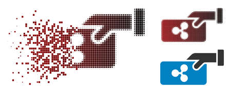 Ripple payment icon in sparkle, pixelated halftone and undamaged solid variants. Pixels are organized into vector disappearing Ripple payment icon.  イラスト・ベクター素材