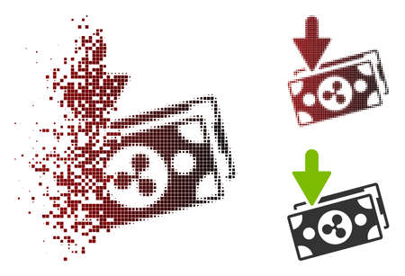 Ripple banknotes income icon in dispersed, dotted halftone and undamaged entire variants. Pixels are grouped into vector dispersed Ripple banknotes income symbol.