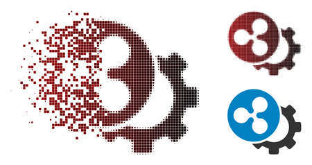 Ripple configuration gear icon in dispersed, pixelated halftone and undamaged entire versions. Points are composed into vector dispersed Ripple configuration gear form.