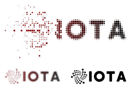 Iota ticker icon in dispersed, pixelated halftone and undamaged whole versions. Cells are grouped into vector dispersed Iota ticker shape.