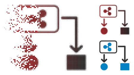 Ripple cashflow icon in dissolved, pixelated halftone and undamaged whole variants. Particles are grouped into vector dispersed Ripple cashflow icon.