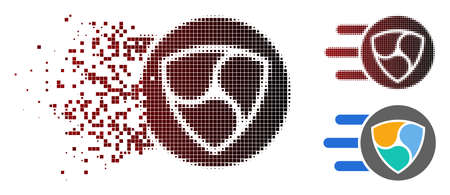 NEM trail icon in sparkle, dotted halftone and undamaged entire variants. Pieces are organized into vector sparkle NEM trail pictogram.