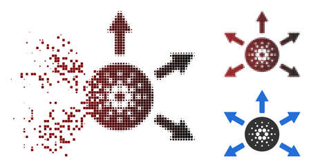 Cardano distribution arrows icon in sparkle, pixelated halftone and undamaged solid versions. Illustration