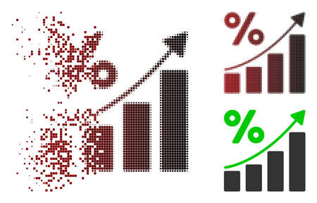 Percent growing graph trend icon in sparkle, pixelated halftone and undamaged whole versions. Particles are composed into vector sparkle percent growing graph trend figure.