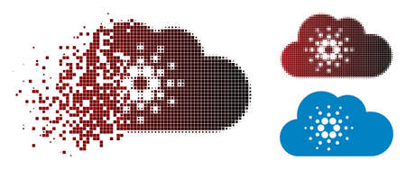 Cardano cloud icon in dispersed, dotted halftone and undamaged entire versions. Pixels are organized into vector dispersed cardano cloud icon. Ilustração