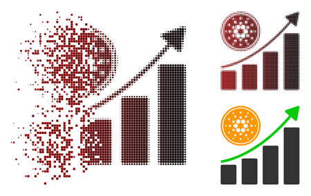 Cardano growing chart icon in dissolved, pixelated halftone and undamaged entire variants. Illustration