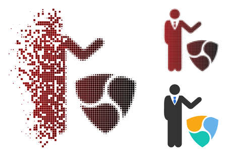 Businessman show NEM icon in fractured, dotted halftone and undamaged entire versions. Fragments are combined into vector disappearing businessman show NEM form.