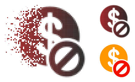 Forbidden dollar icon in fractured, dotted halftone and undamaged entire versions. Particles are arranged into vector disappearing forbidden dollar icon. 向量圖像