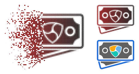 NEM banknotes icon in dispersed, pixelated halftone and undamaged solid versions. Pixels are composed into vector disappearing NEM banknotes figure.