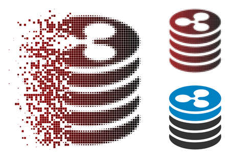 Ripple coin stack icon in fractured, pixelated halftone and undamaged solid variants. Cells are combined into vector disappearing Ripple coin stack icon.