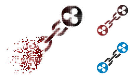 Ripple blockchain icon in fractured, dotted halftone and undamaged solid versions. Cells are composed into vector dissolving Ripple blockchain form.
