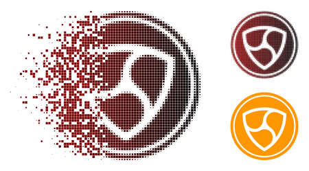 NEM coin icon in fractured, dotted halftone and undamaged entire versions. Particles are grouped into vector disappearing NEM coin figure. Illustration