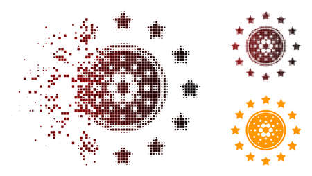 Shine cardano coin icon in dispersed, dotted halftone and undamaged whole variants. Particles are arranged into vector disappearing shine cardano coin shape.