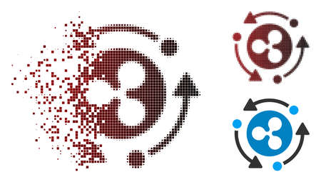 Ripple turnover icon in dissolved, dotted halftone and undamaged solid versions. Fragments are combined into vector sparkle Ripple turnover pictogram. Ilustrace