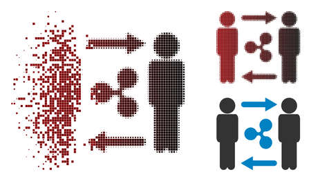 Persons exchange Ripple icon in dispersed, pixelated halftone and undamaged solid versions. Pixels are combined into vector dispersed persons exchange Ripple icon.