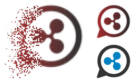 Ripple chat balloon icon in dispersed, pixelated halftone and undamaged entire variants. Pixels are grouped into vector disappearing Ripple chat balloon icon. Illustration