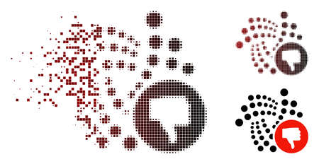 Iota thumb down icon in fractured, dotted halftone and undamaged whole variants. Pieces are combined into vector disappearing Iota thumb down figure.
