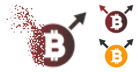 Bitcoin fork icon in fractured, dotted halftone and undamaged solid variants. Pieces are composed into vector dissipated Bitcoin fork form. Ilustrace