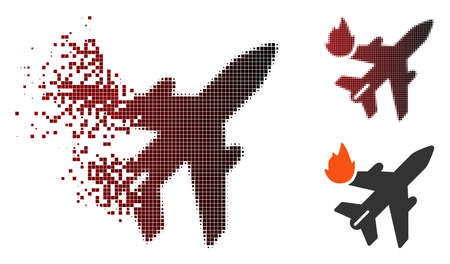 Airliner fire icon in dispersed, dotted halftone and undamaged solid variants. Elements are grouped into vector dispersed airliner fire icon.