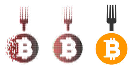 Bitcoin fork icon in dispersed, pixelated halftone and undamaged entire versions. Points are grouped into vector dispersed Bitcoin fork form.