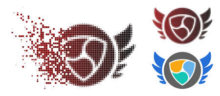 NEM angel investment icon in dispersed, pixelated halftone and undamaged whole versions. Cells are organized into vector disappearing NEM angel investment pictogram.