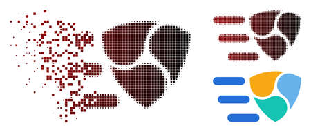 NEM delivery icon in sparkle, pixelated halftone and undamaged solid variants. Fragments are organized into vector dispersed NEM delivery icon.