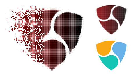 NEM icon in fractured, pixelated halftone and undamaged entire variants. Fragments are combined into vector sparkle NEM icon. Illustration