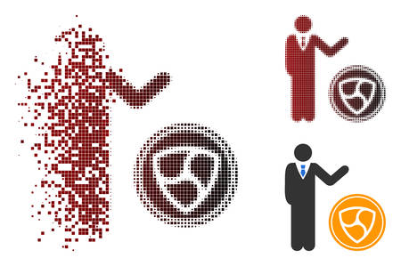 Businessman show NEM coin icon in dispersed, dotted halftone and undamaged solid variants. Points are organized into vector dispersed businessman show NEM coin icon.