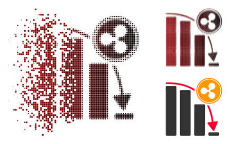 Ripple epic fail chart icon in sparkle, pixelated halftone and undamaged solid versions. Fragments are composed into vector dissipated Ripple epic fail chart icon. Ilustração Vetorial
