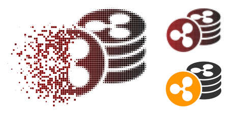 Ripple coins icon in dispersed, pixelated halftone and undamaged solid versions. Pixels are combined into vector dispersed Ripple coins icon.