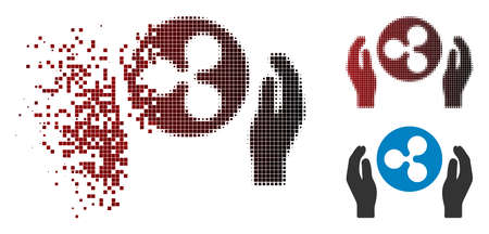 Ripple care hands icon in fractured, pixelated halftone and undamaged whole variants. Particles are arranged into vector disappearing Ripple care hands pictogram. Stok Fotoğraf - 111573767