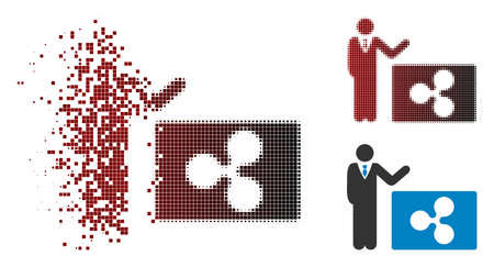 Manager show Ripple icon in dissolved, dotted halftone and undamaged entire versions. Pieces are organized into vector disappearing manager show Ripple icon.