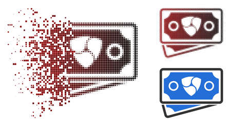 NEM banknotes icon in fractured, dotted halftone and undamaged solid variants. Particles are combined into vector dissolving NEM banknotes icon.