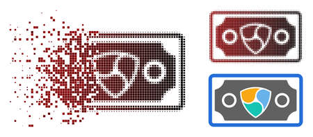 NEM banknote icon in sparkle, dotted halftone and undamaged whole variants. Points are arranged into vector disappearing NEM banknote icon.