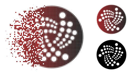 Iota currency icon in sparkle, pixelated halftone and undamaged solid versions. Pixels are combined into vector disappearing Iota currency icon. 向量圖像