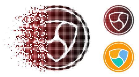 NEM coin icon in sparkle, dotted halftone and undamaged solid versions. Fragments are organized into vector sparkle NEM coin shape. Illustration