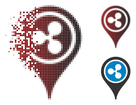 Ripple map pointer icon in dispersed, dotted halftone and undamaged whole versions. Elements are combined into vector dispersed Ripple map pointer icon.