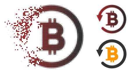 Bitcoin chargeback icon in dispersed, pixelated halftone and undamaged whole versions. Cells are organized into vector dispersed Bitcoin chargeback icon.